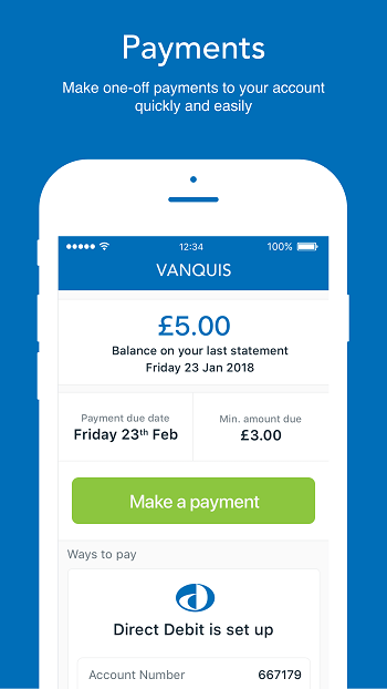 Vanquis App Payement Reminder Screen