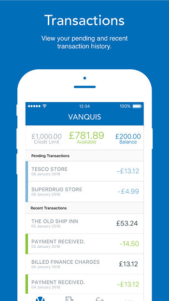 Vanquis App Transaction Screen