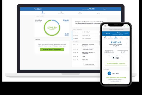 Screenshots of Online Banking and Vanquis App